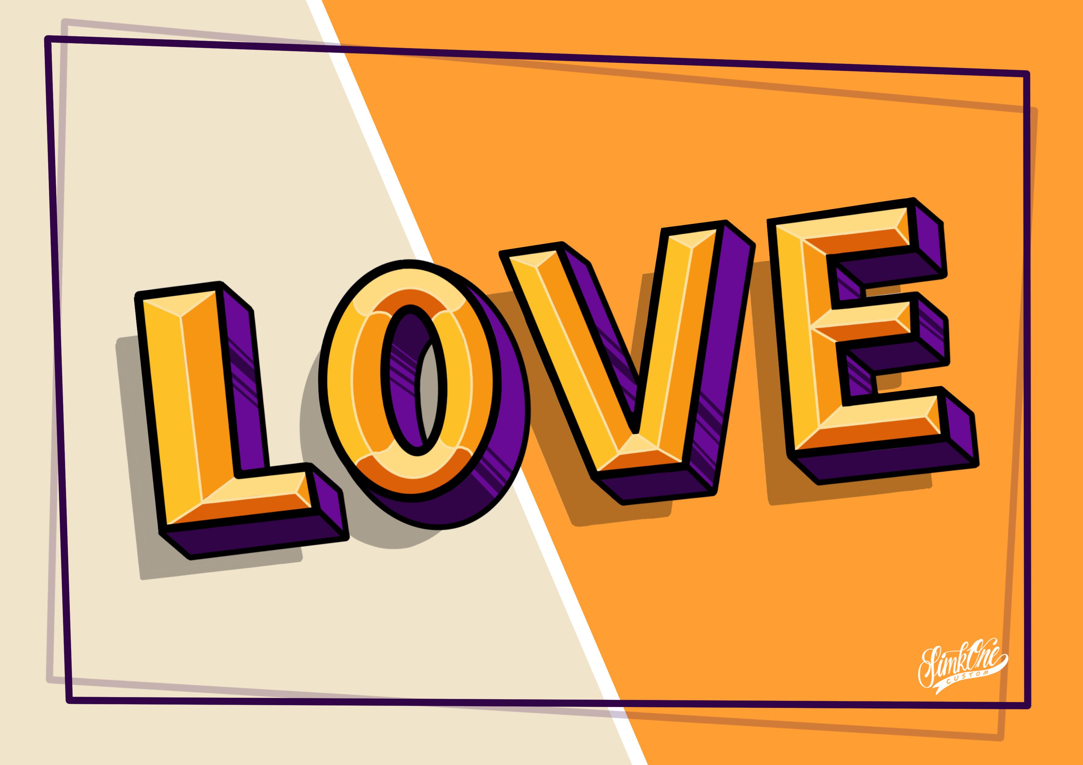 Lettrage Love pour le projet couleur de l\'Atelier l\'Appendix